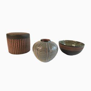 Jarrón, cuenco y frasco alemanes de cerámica de Eva Kumpmann, años 50. Juego de 3