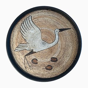 German Ceramic Wall Plate with Stork Motif by Sgrafo Modern, 1960s