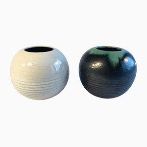 Jarrones alemanes de cerámica de Wilhelm Diebener para Gotha Keramik, años 30. Juego de 2