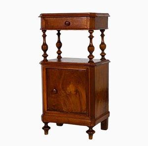 Mesita de noche Louis Philippe de madera de nogal, mediados del s. XIX