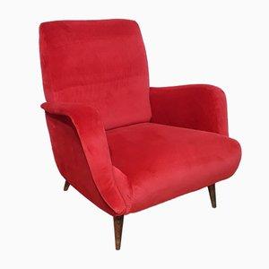 Poltrona nr. 806 in velluto rosso di Carlo de Carli per Cassina, 1958