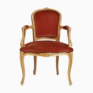 Barocker venezianischer Armlehnstuhl aus geschnitztem Holz, 19. Jh.
