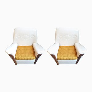 Vintage British Cream Vinyl Armchairs, 1970s, Set of 2