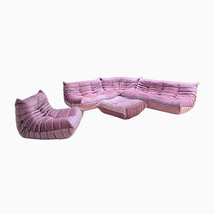 Living Room Set in Pink Velvet by Michel Ducaroy for Ligne Roset, 1970s