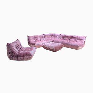Set da salotto in velluto rosa di Michel Ducaroy per Ligne Roset, anni '70