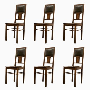 Antique German Oak Chairs, Set of 6