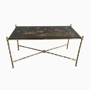 Neoclassical Lacquered Wood and Bronze Coffee Table from Maison Bagués, 1940s