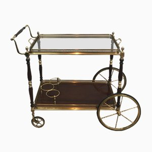 Neoclassical Mahogany and Brass Drinks Trolley, 1940s