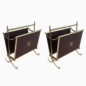 Neoclassical Mahogany and Brass Magazine Racks, 1940s, Set of 2
