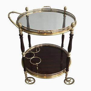 Neoclassical Brass and Mahogany Drinks Trolley, 1940s