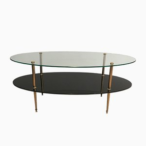 Brass, Glass, and Black Lacquer Coffee Table, 1970s