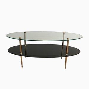 Table Basse en Laque Noire, Verre et Laiton, 1970s