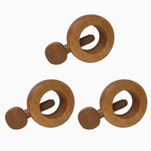 Cascanueces daneses vintage de madera de haya de Kay Bojesen, años 70. Juego de 3