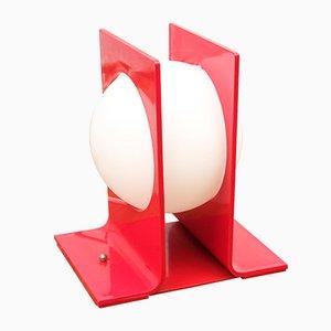 Lámpara de mesa Mid-Century en rojo, años 60