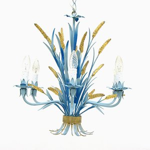 Vintage German Blue Hollywood Regency Chandelier, 1970s