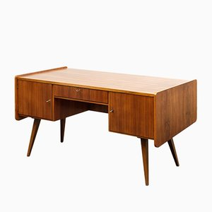 Mid-Century Walnut Wood Writing Desk, 1950s