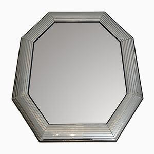 Octogonal Wood and Lucite Mirror, 1970s