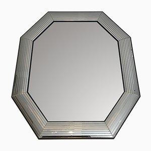 Spiegel mit achteckigem Rahmen aus Holz & Plexiglas, 1970er