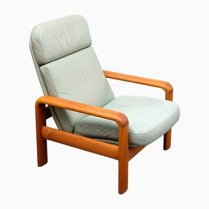 Vintage Teak and Leather Lounge Chair from Dyrlund, 1970s