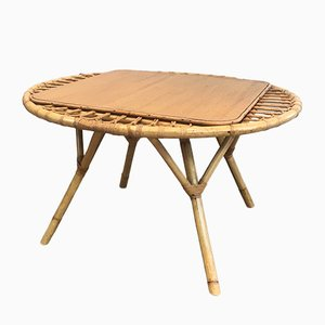 French Rattan Coffee Table, 1950s
