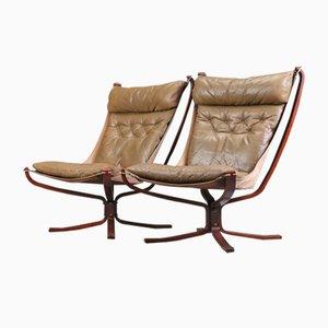 Chaises à Dossier Haut Falcon Vintage Noires par Sigurd Resell pour Vatne Møbler, Set de 2