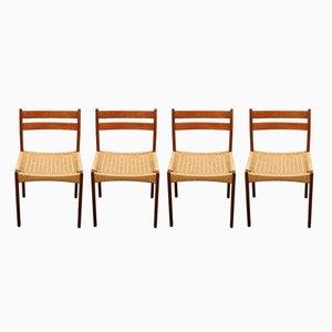 Dänische Esszimmerstühle mit Gestell aus Teak & Sitz aus Sisalgeflecht, 1960er, 4er Set
