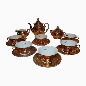 Gold-Plated Coffee Service Set from Wałbrzych Porcelain Factory, 1970s