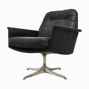 Black Leather Swivel Lounge Chair by Horst Bruning for COR, 1960s