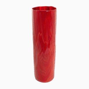 Vaso Tronchi in vetro di Murano rosso di Toni Zuccheri per Venini, anni '60