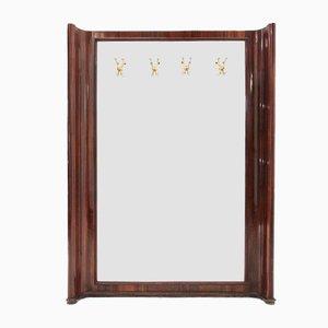 Specchio in legno con ganci, anni '50