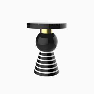 Kaya Variation 2 Side Table with Gold Band & Black Top from CASALTO