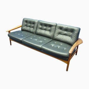 Danish Teak Leather Sofa, 1960s