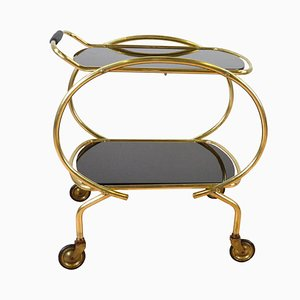 Mid-Century Glass 2-Tier Serving Bar Cart, 1960s