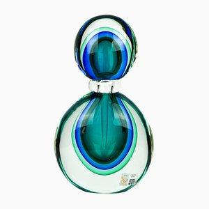 Green & Blue Sommerso Murano Blown Glass Bottle by Michele Onesto for Made Murano Glass, 2019