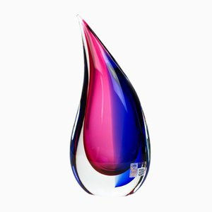 Blue & Ruby Blown Murano Glass Drop Vase by Michele Onesto for Made Murano Glass, 2019