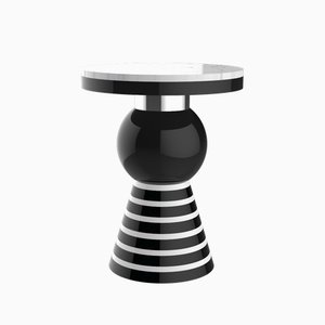Kaya Variation 2 Side Table with Silver Band & White Top from CASALTO