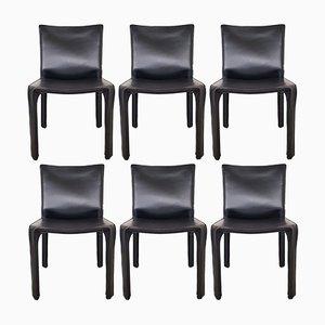 CAB 412 Stühle mit schwarzem Lederbezug von Mario Bellini für Cassina, 1980er, 6er Set