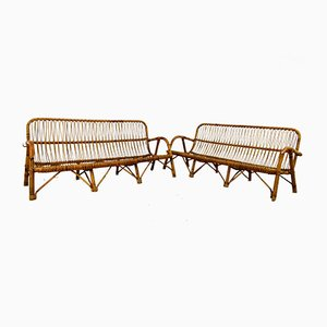 Italian Rattan Sofas, 1960s, Set of 2