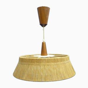 Lampe à Suspension Mid-Century en Teck et Sisal de Temde, 1960s