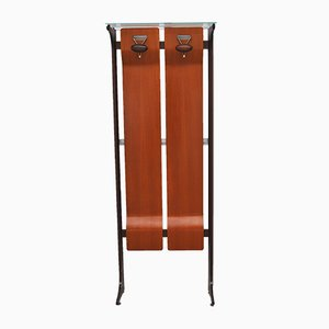 Mid-Century Wood and Glass Coat Stand with 2 Hooks by Gianfranco Frattini