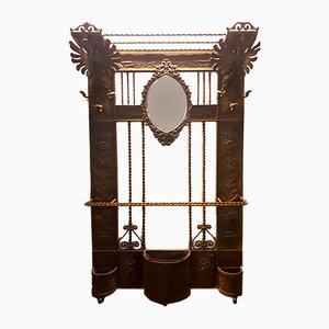 Wrought Iron Coat Rack with Beveled Mirror, 1920s