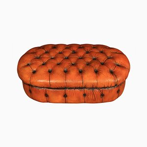 Vintage Leather Chesterfield Pouf