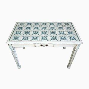 Mesa francesa modernista de azulejos, años 10