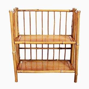 Kleines zweistufiges Vintage Klappregal aus Bambus