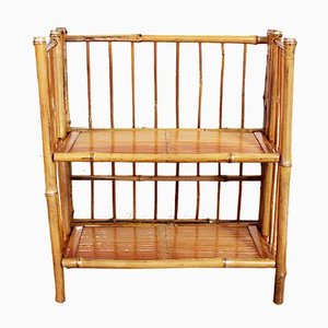 Small Vintage Bamboo 2-Tier Folding Shelf