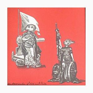 Lithographie à Double Face Gloire Militaire par Enrico Baj pour Rousseau, 1972