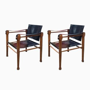 Mid-Century Leather Safari Chairs, Set of 2