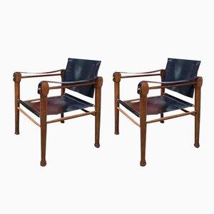 Mid-Century Safari Sessel mit Sitz aus Leder, 2er Set