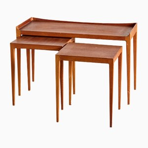 Tavolini a incastro Mid-Century in teak di Kurt Ostervig per Jason Møbler, 1958