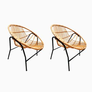 Vintage Dutch Trio Rattan Chairs by Rohé Noordwolde, Set of 2